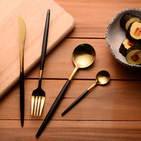 Wholesale- 304 Stainless Steel Cutlery Gold Flatware Set Blac...