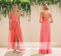 2016 Coral Country Bridesmaids Dresses Long A line Chiffon S...