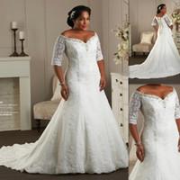 Hot Sale Plus Size Wedding Dresses Off The Shoulder Half Sle...