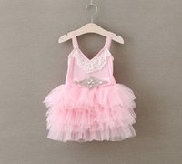 Pretty Style Summer Stripes Girls Lace Dresses with Diamond ...