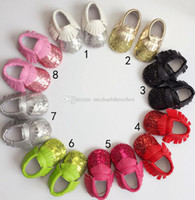 8 Color Baby paillette moccasins soft sole PU leather first ...