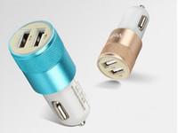 Высокое качество двойной порт USB металла Автомобильное зарядное устройство Универсальный 12 Вольт / 1-2 Amp для iPhone 6S IPad IPod / Samsung Galaxy S7