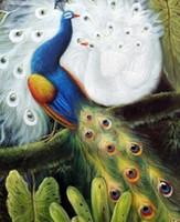 Павлин пара синий и белый Птица Сад Дерево, чисто ручной росписью животных картина маслом Canvas.any подгонять размер приняли Джон