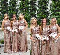 Hot Sale One Shoulder Bridesmaid Dresses Rose Gold Sequined ...