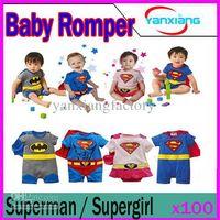 DHL 100PCS Bébé Romper manches longues superman / supergirl robe Cape vêtements YX-HY-02