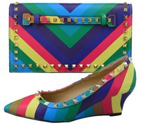 2016 New arrival!!Rainbow color women shoes and bag set part...