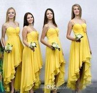 2016 Новый желтый Высокая Низкая Платья для подружек невесты Дешевые Милая Аппликация Pleats Привет-Lo Country горничной честь выпускного вечера партии платья плюс размер Дешевые