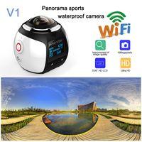 2017 original V1 360 degrés panoramique sports caméra mini 3D wifi sports DV 4K plein HD 30m imperméables caméras vidéo d'action en plein air