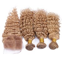 4Pcs Lot Brazilian Honey Blonde Deep Wave Hair With Closure ...