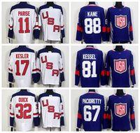 2016 Hockey Team USA World Cup Jerseys Blue White 88 Patrick...