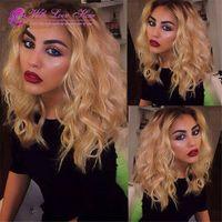 bob lace wig mongolian short human hair ombre blonde full la...