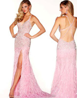 Bling Sequined Prom Dresses Sexy V- Neck Backless Feather Pro...