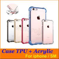 Case Cover Goutte pas cher caméra preuve Soft Protection TPU Arcylic PC Transparent plein dur pour le bord de l'iPhone 6 6S plus Galaxy SE DHL 100
