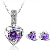 925 Bijoux en argent sterling Love Charm Flottant Locket Boucles d'oreilles Colliers Set White Purple Pendentif en cristal autrichien Collier Pendentif