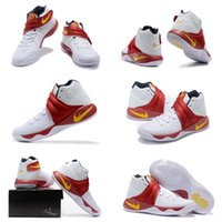 (With SHOES Box) Free Shipping Kyrie Irving 2 II WHITE- RED- Y...