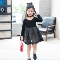Autumn Fall Korean Children Girls Dresses V Neck Glitter Tul...
