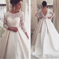 Элегантный бальное платье Кружева Свадебные платья 2016 года Cap рукава свадебное платье Длинные рукава Sweep Поезд Розовый Sash свадебное платье Gowns