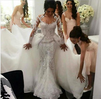 Ретро 2016 года полный шнурок Русалка Свадебные платья с Съемные Тюль Overskirt Berta Jewel Шея Длинные рукава Pearls вышивки Свадебные платья М.З.