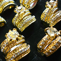 1 Set = 2Pcs Hot! 2 en 1 Zircon strass plaqué or Anneaux pour les femmes Mode Whole bijoux Lots en vrac gratuit LR036 Expédition
