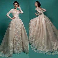 Long Sleeve Illusion Neckline Wedding Dresses Appliqued Lace...
