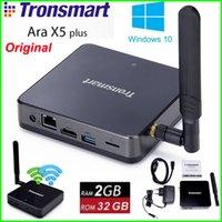 Оригинал Tronsmart Ара X5 Plus для Windows 10 TV Box Intel Atom Z8300 Cherry Trail Quad Core CPU 2G / 32G 2.4G / 5GHz Dual WiFi USB3.0