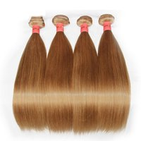 Honey Blonde Human Hair Weaves Bundles Color 27# Brazilian P...