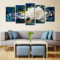 Большой современный абстрактный белый Flowes Картина печати Картина на холсте Wall Art Home Decor Гостиная Печать холст Картина без рамки
