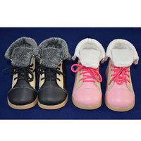 New Toddler Little Kids Lapel Boots Genuine Leather Patchwor...