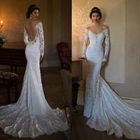 2017 Berta Mermaid Wedding Dresses Long Sleeves Off Shoulder...