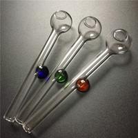 verre brûleur à mazout tuyau d'eau 10cm tuyaux main mini verre pour fumer brûleur à mazout pyrex avec bleu brun tube de verre coloré poignée verte