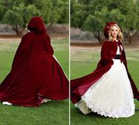 Christmas Burgundy Red Velvet Winter Bridal Cloaks Sleeveles...
