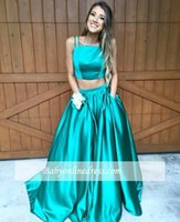 2017 New Design Dois Pieces Prom Dresses Spaghetti tafetá Andar de comprimento Evening Partido Vestidos Custom Made