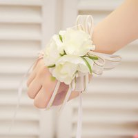 2016 Milk white bride bridesmaid wrist flowers, cheap weddin...