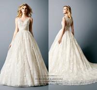 2017 New Fashion A Line Wedding Dresses Lace Jawel Long Wedd...