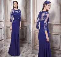 2016 New Mother of the Bride Dresses Crew Neck 3 4 Sleeves L...