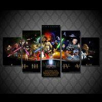 5 Панель Рамку Печатный Звездные войны плакат фильма Группа Живопись Холст печати декор комнаты печать плаката картина стены искусства холст