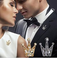 Hot Selling Silver Crystal Small Crown Pin Gold Brooch Alloy...