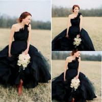A Line Black Wedding Dresses Amazing Beauty Brides Gowns One...