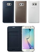 Para Samsung Galaxy Plus S7 S7 Giro borde de la cubierta original Samsung Galaxy S7 borde del tirón del cuero Negro Casos cubierta de la tarjeta Monedero nave libre de DHL