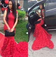 Sexy Красный африканские арабские Mermaid платья выпускного вечера 2016 3D цветок 2K16 Пром Длинные Формальное вечера партии платья Платье De Феста