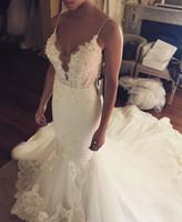 Sexy бретельках Русалка Свадебные платья 2017 года Длина бисера аппликациями Backless пола платье невесты Свадебные платья