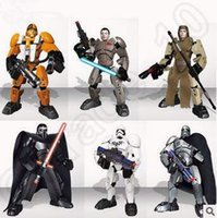Новый 6 Стиль 7inch Звездные войны фигурку Дарта Вейдера Stormtrooper ПВХ мультфильм блок игрушки Детские подарки CCA5403 50pcs