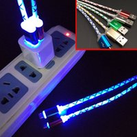 Visible LED Light Micro USB Cable 1m 3ft Metal Colorful Char...