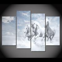 4 панели холст искусство холст живопись белые лошади бег HD печатный стенной художественный плакат Home Decor изображение для гостиной XA138B