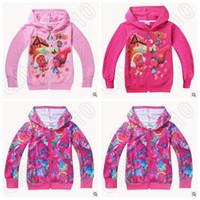 3 Designs Hot Trolls Crianças Cardigan Cartoon Poppy Primavera Outono Zipper Hoodies Casacos de manga comprida Kids Mochilas Casual CCA5431 50pcs