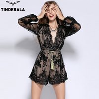 TINDERALA women 2017 sexy deep- V sequin jumpsuit playsuit bo...