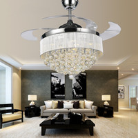 Modern Chrome Crystal Led Ceiling fans Invisible Blades Ceil...