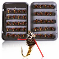 40Pcs box Dry And Wet Fly Fishing Lure Set With Bamboo fly b...