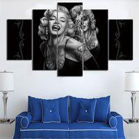 Новая Мэрилин Монро Стена Изображение 5 Панель холст картины HD Printed безфреймовый Картины для гостиной Бесплатная Доставка