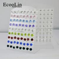 72Pcs / Set Zirconia Rhinestone en acier inoxydable Stud Earrings Diameter 6.9mm pour les femmes en gros Bijoux Lots LR210 Livraison gratuite